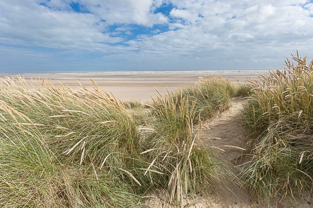 Landscape photograph of camber beach looking out to sea